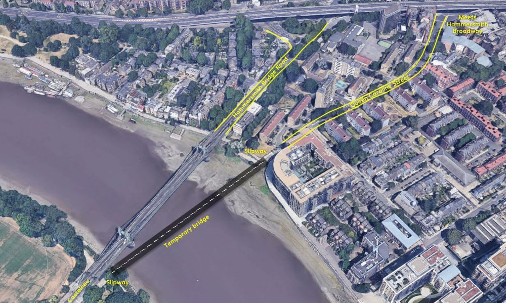 Proposed route of a temporary bridge for motor vehicles next to Hammersmith Bridge