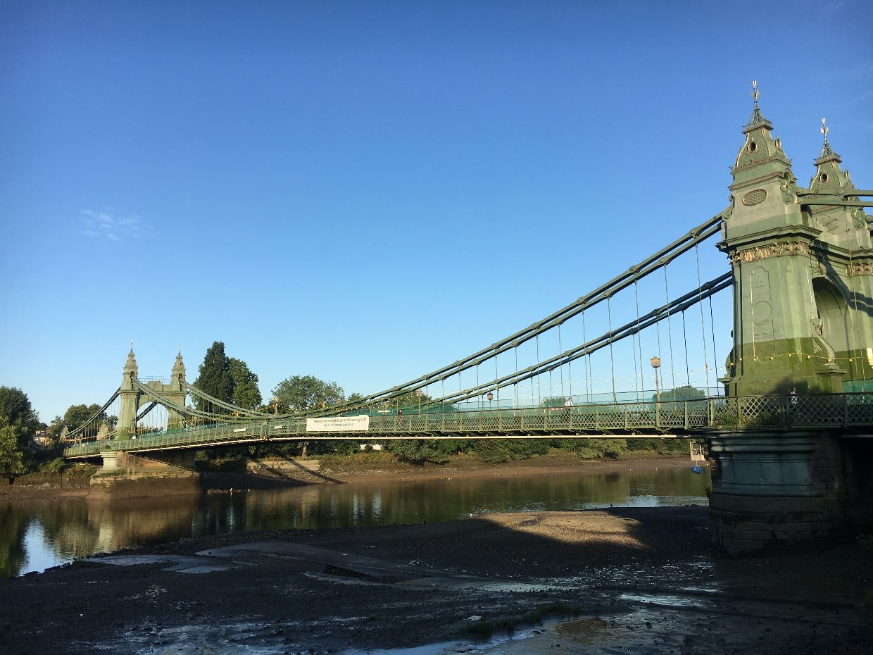 Hammersmith Bridge seen from the Hammersmith side
