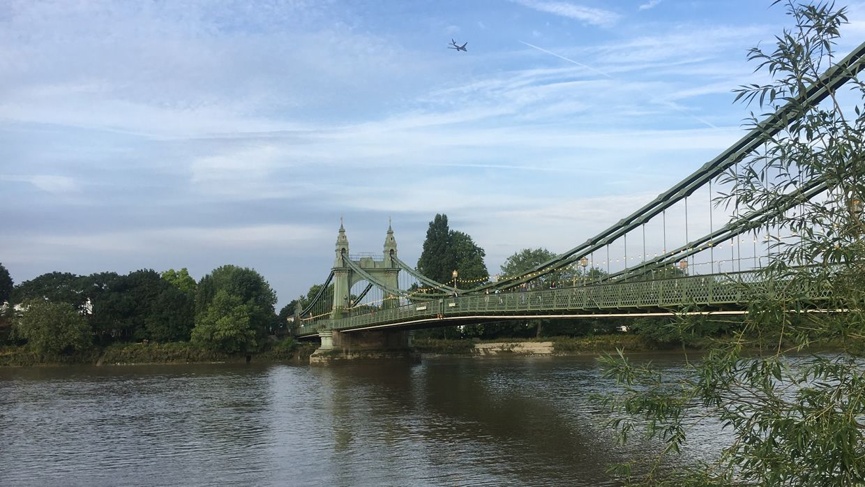 Hammersmith Bridge, seen from the North (Hammersmith) bank