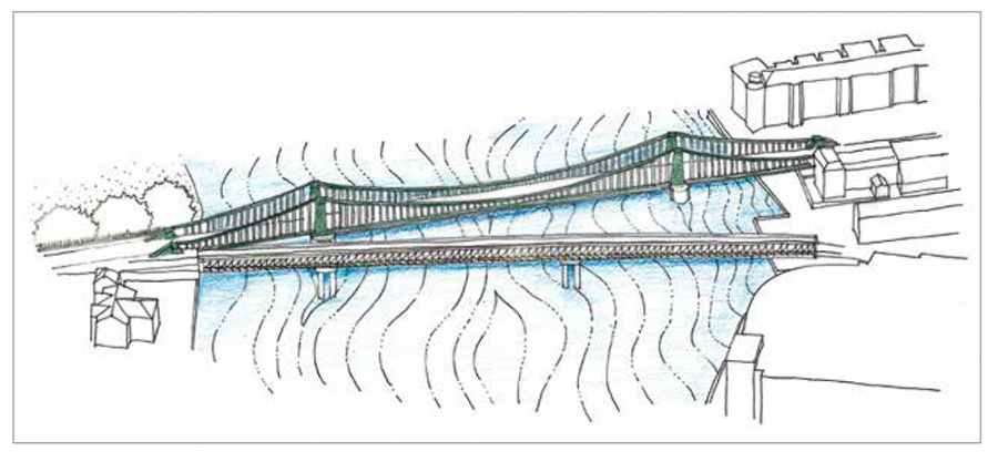 The proposed temporary bridge between Barnes and Hammersmith
