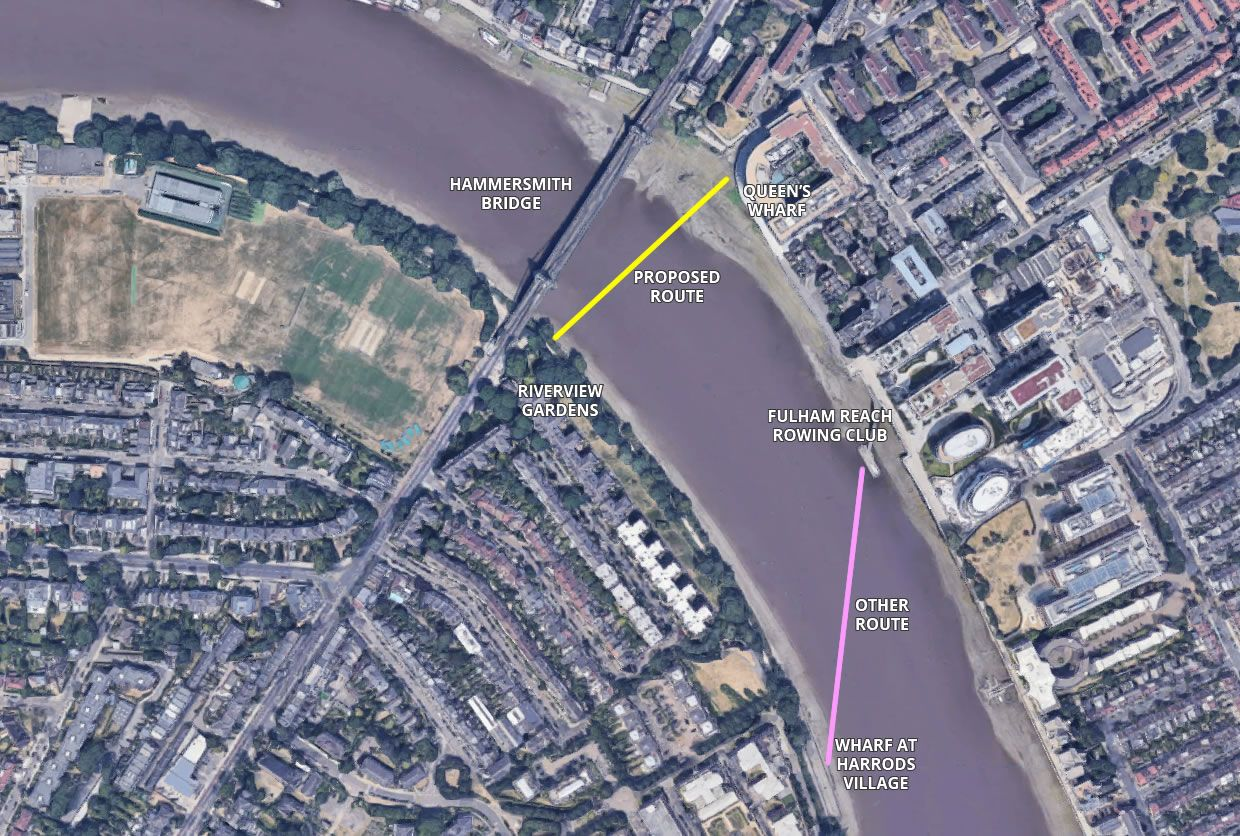 Proposed route of the ferry at Hammersmith Bridge (Image from Google Maps)